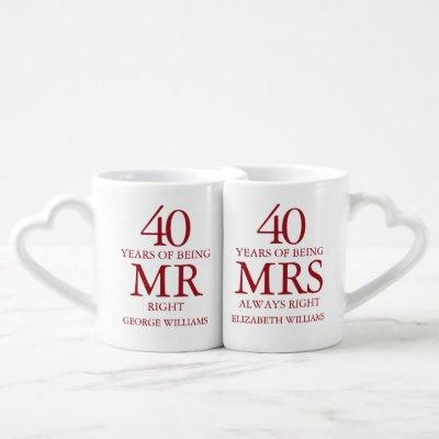 40th Ruby Wedding Anniversary Mr Mrs Right Coffee Mug Set