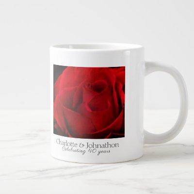 40th Ruby Wedding Anniversary Rose husband & wife Giant Coffee Mug