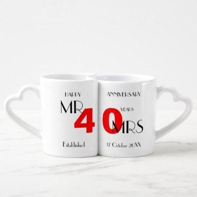 40th Wedding Anniversary Personalized Coffee Mug Set