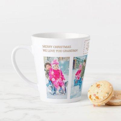 4 Christmas Photo Collage Dashing Snow Grandparent Latte Mug