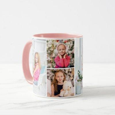 4 Photo Collage Custom Text Mother's Day Abstract Mug