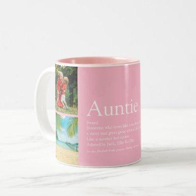 4 Photo Girly Pink Fun Best Aunt Ever Definition Two-Tone Coffee Mug