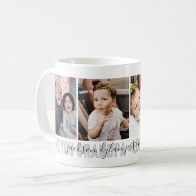 4-Photo Love You Grandpa Grandchildren's Names Coffee Mug