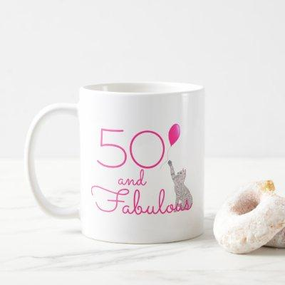 50 And Fabulous Cat Lovers 50th Birthday Gift Mug