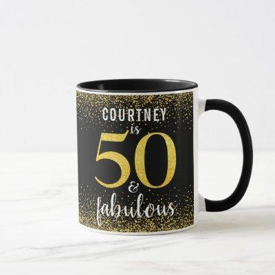 50 and fabulous sparkly gold & black personalized mug