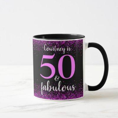 50 and fabulous sparkly pink & black personalized mug