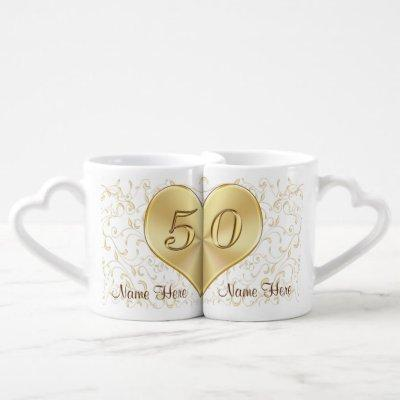 50 Year Wedding Anniversary Gifts, Heart Mugs