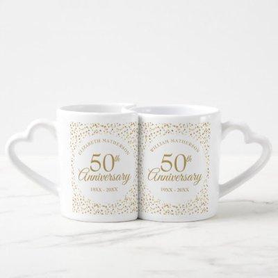 50th Anniversary Gold Hearts Confetti Coffee Mug Set