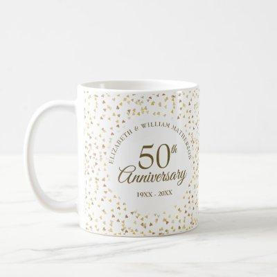 50th Anniversary Golden Hearts Coffee Mug
