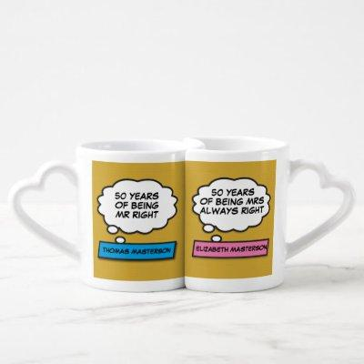 50th Anniversary Mr Right Mrs Always Right Comic Coffee Mug Set