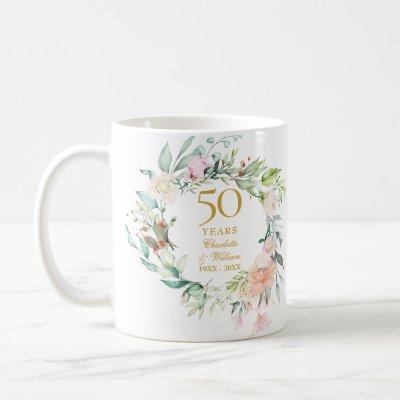50th Anniversary Wedding Rose Watercolour Garland Coffee Mug