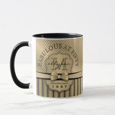 50th Birthday Champagne Gold Polka Dot Stripes Bow Mug