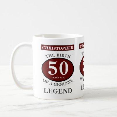 50th Birthday Red Genuine Legend Add Your Name Coffee Mug
