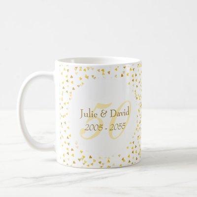 50th Wedding Anniversary Gold Hearts Confetti Coffee Mug