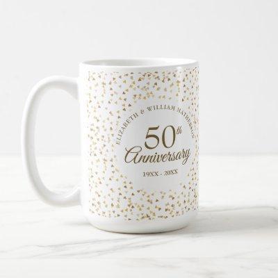 50th Wedding Anniversary Golden Hearts Coffee Mug