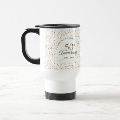 50th Wedding Anniversary Golden Hearts Travel Mug