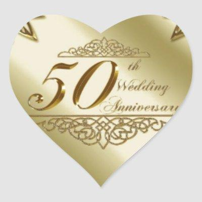 50TH WEDDING ANNIVERSARY SOUVENIRS HEART STICKER