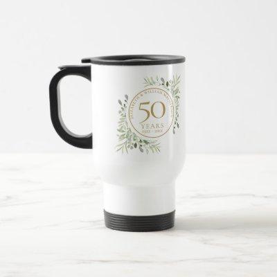 50th Wedding Anniversary Watercolor Leaves  Travel Mug