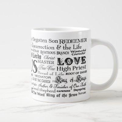 """57 Names of Jesus"" Jumbo Mug Black on White"