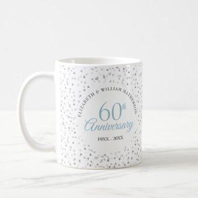 60th Anniversary Hearts Confetti Coffee Mug