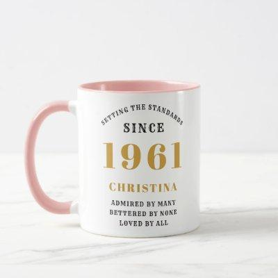 60th Birthday 1961 Pink Gold Lady's Personalized Mug
