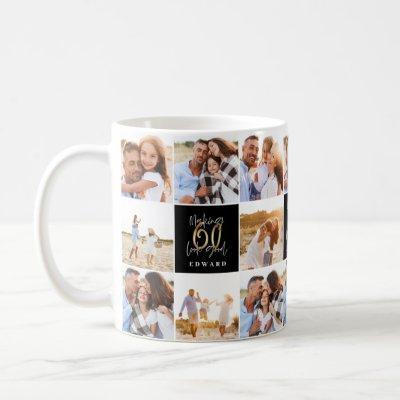 60th birthday good gold black photo collage chic coffee mug