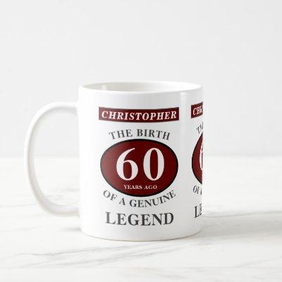 60th Birthday Red Genuine Legend Add Your Name Coffee Mug