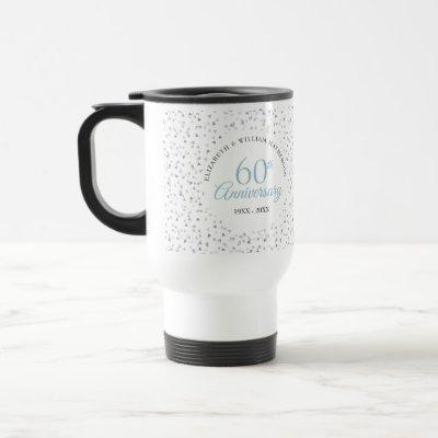 60th Diamond Anniversary Hearts Confetti Travel Mug