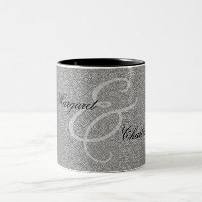 60th Diamond Wedding Anniversary Silver Damask Two-Tone Coffee Mug