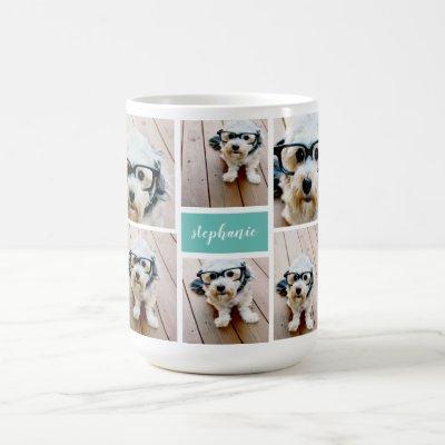 6 Photo Collage Name Minimalist - Can Edit color Coffee Mug