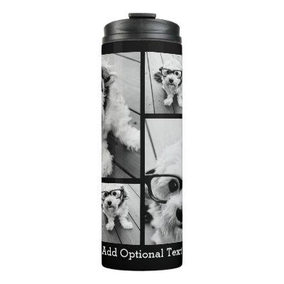 6 Photo Collage Optional Text -- Can Edit Black Thermal Tumbler