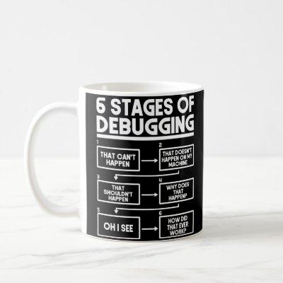 6 Stages Of Debugging Programmer Coding Coffee Mug