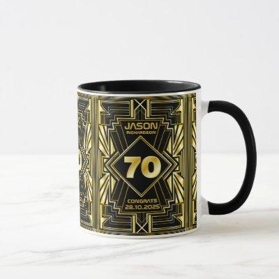 70th Birthday Art Deco Gold Black Great Gatsby Mug