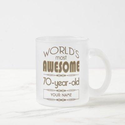 70th Birthday Celebration World Best Fabulous Frosted Glass Coffee Mug