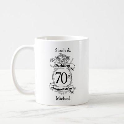 70th Wedding Anniversary Flowers Black and white Coffee Mug