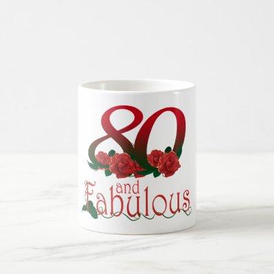 80th birthday 80 and fabulous red roses floral mug