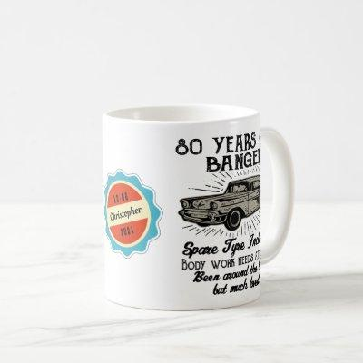 80th Birthday 80 Personalized Funny Vintage Car Coffee Mug