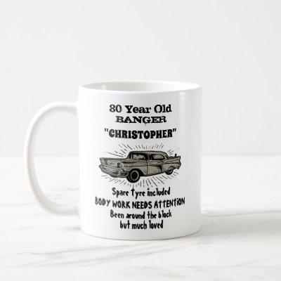 80th Birthday Banger Love Vintage Car Retro Coffee Mug
