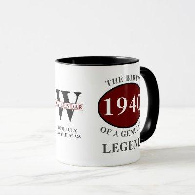 80th Birthday Born 1940 Monogram Black Red Legend Mug
