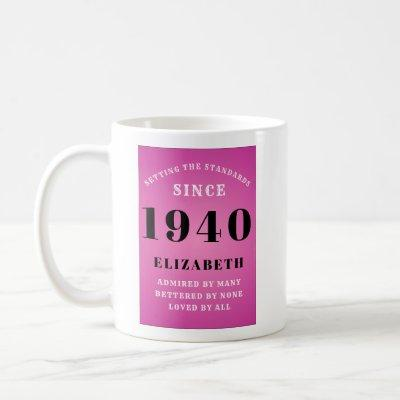 80th Birthday Born 1940 Pink Grey Add Your Name Coffee Mug