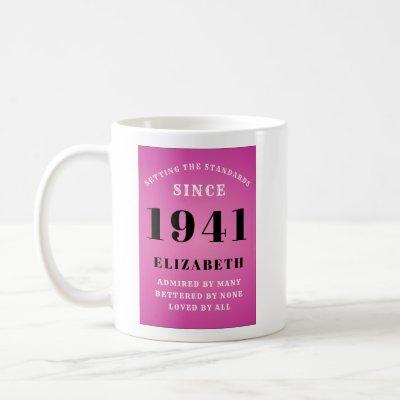 80th Birthday Born 1941 Pink Grey Add Your Name Coffee Mug