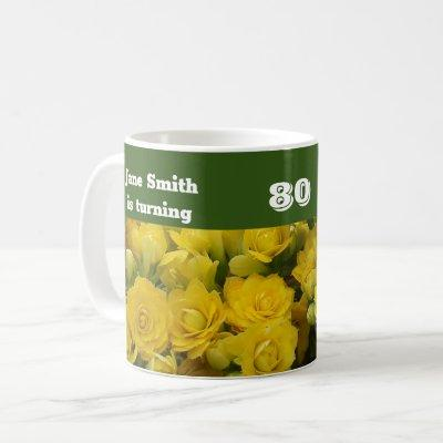 80th Birthday Bright Yellow Flower Photo Floral Coffee Mug