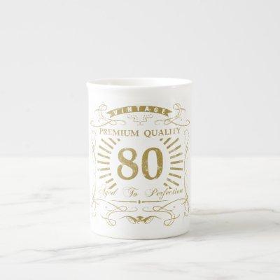 80th Birthday Gag Gift Bone China Mug