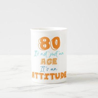 80th Birthday Gag Gift Bone China Mug