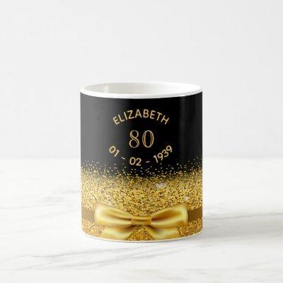 80th birthday gold bow black name sparkle age coffee mug