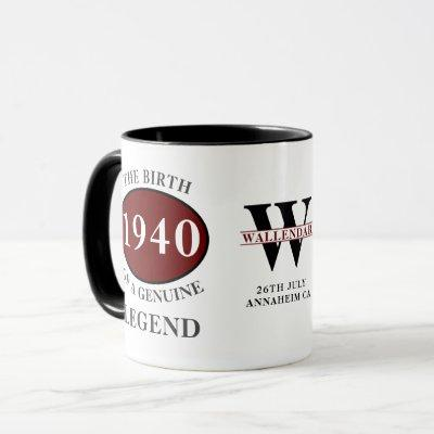 80th Birthday Monogram Born 1940 Legend Add Name Mug