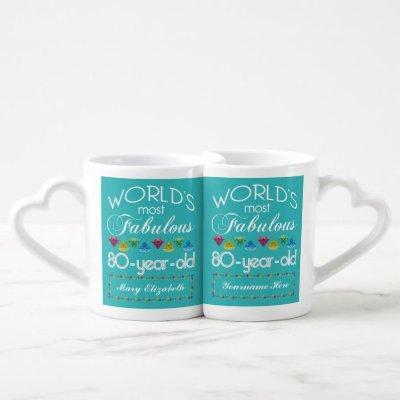 80th Birthday Most Fabulous Colorful Gem Turquoise Coffee Mug Set
