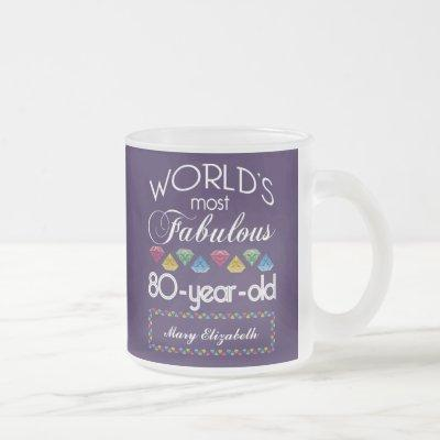 80th Birthday Most Fabulous Colorful Gems Purple Frosted Glass Coffee Mug