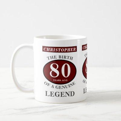 80th Birthday Red Genuine Legend Add Your Name Coffee Mug