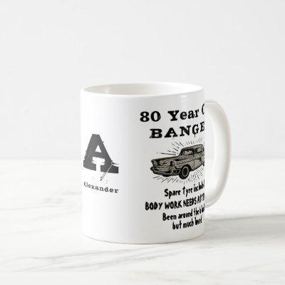 80th birthday Retro funny Car Monogram For Men Coffee Mug
